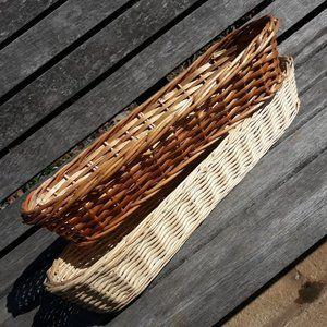 2 Wicker Baskets Oblong Wall Hanging Boho Storage